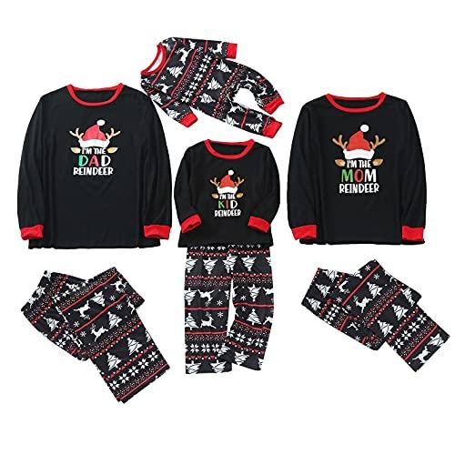 Pijamas de Navidad para la Familia Mujeres Hombres Niños Bebé Pijamas de Navidad a juego Conjuntos de ropa de dormir Rojo Plaid Bottoms Loungewear, B-negro, XL