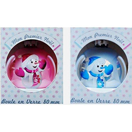 Lcn 012 - Pallina di Natale in vetro, motivo: il mio primo Natale, colore: Rosa