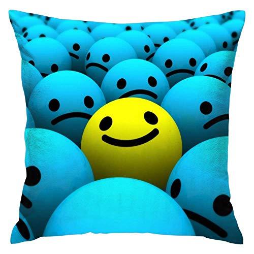 N\A Throw Pillow Case Funda de cojín Funda de Almohada estándar para Hombres, Mujeres, hogar, sofá Decorativo, sillón - D Yellow Smiles Between Lots of Blue Smiles