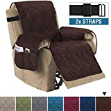 H.VERSAILTEX Recliner Sofa Slipcover Slip Resistant Quilted Velvet Plush Recliner Cover Furniture Protector Seat Width Up to 28' Couch Shield 2' Elastic Straps (Recliner, Brown)