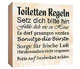 Holzschild Toiletten Regeln Holzbild zum hinstellen oder aufhängen Bild mit Spruch aus Holz Wandschild Dekoschild
