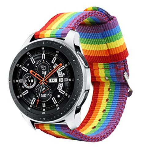 Estuyoya - Nylon Armband kompatibel mit Samsung Gear S3 Frontier/Classic/Galaxy Watch LGBT Gay-Pride Farben, Breite 22mm Einstellbar atmungsaktiv Sportstil Lässiger Elegant