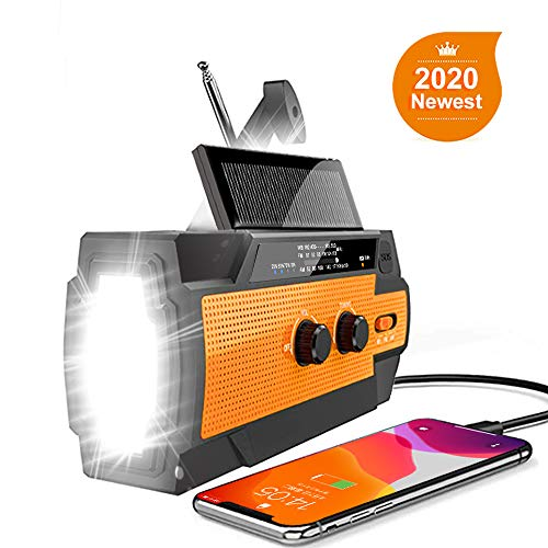 【2020 Newest Version】 Emergency Hand Crank Radio Flashlight Solar Radio Portable 4000mAh Power Bank AM/FM/NOAA Weather Radio with Super Bright Flashlight&Motion Sensor Reading Lamp, Phone Charger