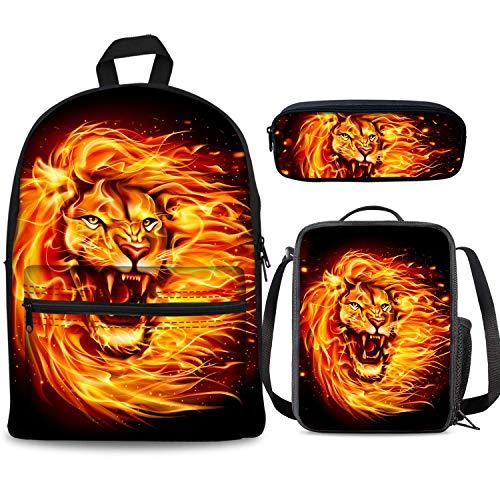 Fire Lion Ensemble sac à dos 3 pièces 43,2 cm + livre sac à déjeuner, boîte à crayons, pour garçons et filles 1–6ème grade pour la rentrée scolaire