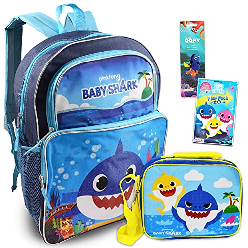 """Baby Shark Backpack and Lunch Bag for Kids ~ 4 Pc Bundle With 16"""" Baby Shark School Bag Bundle with Finding Dory Stickers, Baby Shark Coloring Pages, And More (Baby Shark School Supplies)"""
