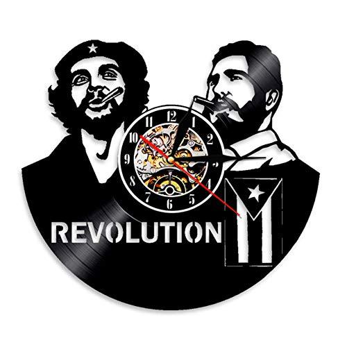 Wangzhongjie Fidel Castro Cuban Home Deor Wanduhr Havanna Cuba Revolution Schallplattenuhr Viva Cuba Libre Uhr Mit Kubanischer Flagge