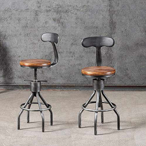 Set of 2 Industrial Bar Stool-Adjustable Swivel Wood Metal Bar Stool-Counter Height to Extra Tall Farmhouse Bar Stool-24-30 Inch Seat Height-with Backrest