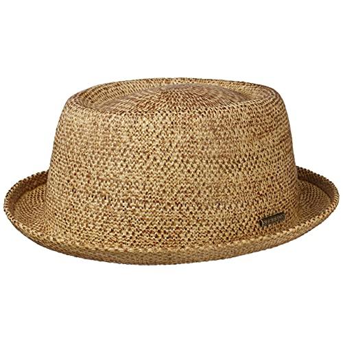 Stetson Cappello di Paglia Liverton Pork Pie Donna - Cappelli da Spiaggia Sole Primavera/Estate - L (58-59 cm) Natura