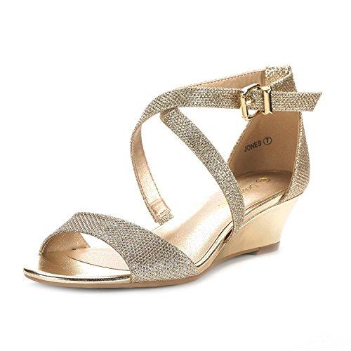 DREAM PAIRS Women's Jones Gold Low Wedge Pump Sandals - 9 M US