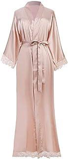 Traje de Las señoras satén de Seda Largo Maxi del Vestido del Kimono monocromático Albornoz, para Mujer Traje Largo Color Puro Albornoz,Natural