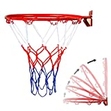 IRegina Basketball Rim Replacement Basketball Backboard Lifetime Basketball Hoop Outdoor Professional 180º Heavy Duty Breakaway Stainless Reinforced Mounting Bracket Fit Most Size (Rim&Net)
