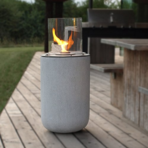muenkel design Boston - Ethanol Feuerstelle: Beton-Optik - Medium - Borosilikatglas