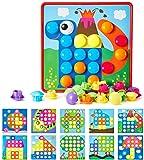 Geekper Mosaik Steckspiel für Kinder ab 2 Jahre, Steckmosaik mit 46 Steckperlen und 10 Bunten Steckplätte, Steckspielzeug Kinderspielzeug,Bunte Steckspiel Pädagogische Baustein Sets, Lernspielzeug