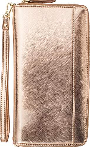 Travel Document Organizer - RFID Passport Wallet Case Family Holder Id Wristlet (Rose Gold (Gold))