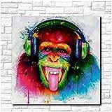 YANGYANGFBH Pop Art DJ AFFE Ölgemälde Wandkunst Bild Malerei Gedruckt Auf Leinwand Wohnkultur Abstrakter Druck Painting-50x50cm Kein Rahmen