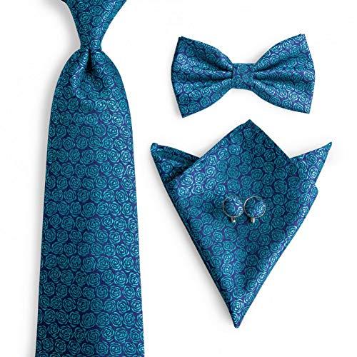 WOXHY Cravate Homme Cravates Bowtie Set 8Cm Cravates Styles de Mode Cravates Hanky Boutons de Manchette Bow Tie Set