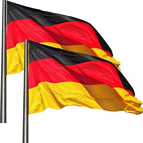 KliKil Deutschland Flagge Deutschlandfahne Balkon Deko -2 pcs -Flaggen Fahnen Fanartikel 90 x 150 cm Deutschlandfahne Polyester mit Metall-Ösen, Deutschland-Fahne Schwarz Rot Gold