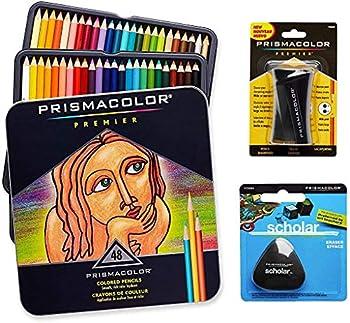 Prismacolor Quality Art Set - Premier Colored Pencils 48 Pack Premier Pencil Sharpener 1 Pack and Latex-Free Scholar Eraser 1 Pack