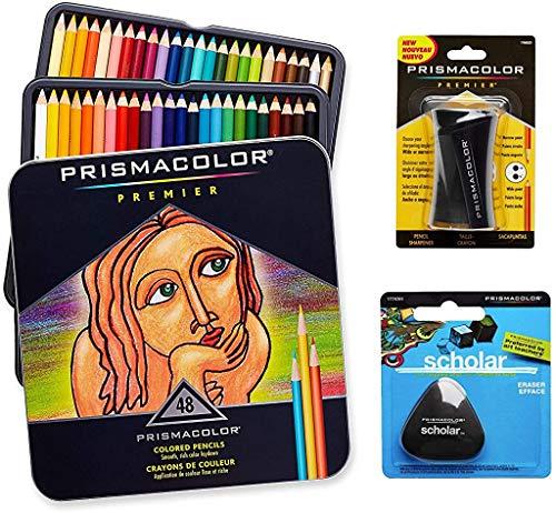 Set Prismacolor de arte de calidad. Pack de 48 lápices de colores de calidad, 1 sacapuntas de calidad y 1 goma de borrar escolar y sin látex