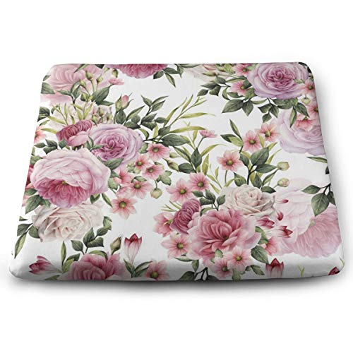 Sanghing Customized Motif Floral Roses Aquarelle Vintage Rose Pivoines Rouge Bouquet De Fleurs 1.18 X 15 X 13.7 in Cushion, Suitable for Home Office Dining Chair Cushion, Indoor and Outdoor Cushion.