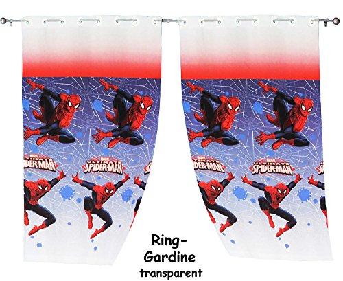alles-meine.de GmbH 2 Stück _ Vorhänge / FERTIG - Gardinen aus Chiffon -  Ultimate Spider-Man  - je 140 * 240 cm lang - transparent Organza / Voile - für Fenster & Türen / Fert..