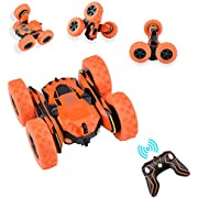 STOTOY 1/28 Scale 4WD RC Stunt Car , Electric Racing Monster Truck with High Speed of 360 Double Sided Rotating Tumbling-2.4GHz Radio Controlled Vehicle for Kids and Adults-Orange