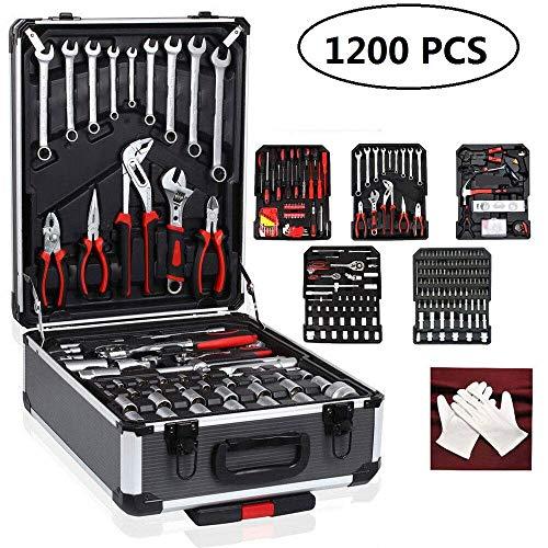 1200 PC-Werkzeug-Satz-Kasten Mechanik Haushalt Kit mit Aluminium Aufbewahrungswagen Mechaniker-Kasten-Kasten, for Reparatur-Werkzeuge + Free Glove (Size : 1200PCS)