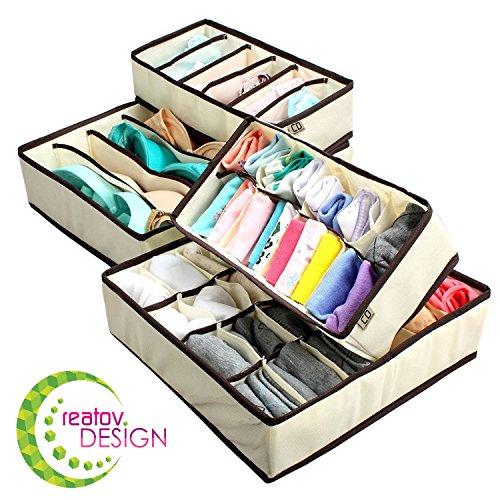 Creatov scatola a scomparti pieghevole per cassetti, 4 pezzi da 24 scomparti