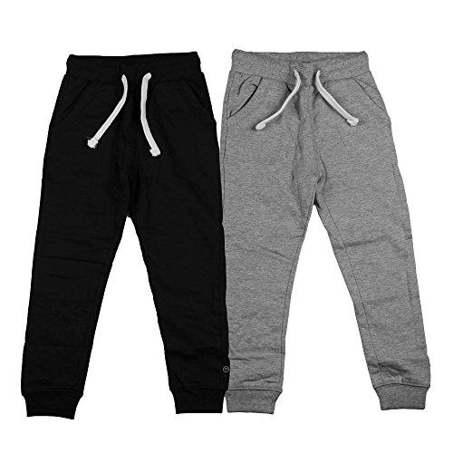 Minymo 2er Pack Sweat Pants/freizeithose Für Jungen Pantalones, Multicolor (Dunkel Gr/Schwarz 193), 98 para Niños
