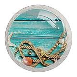 qfkj Tirador de la Perilla del cajón 4 Piezas El cajón del gabinete de Vidrio de Cristal Tira Las perillas del Armario,Conchas Marinas con Cuerda Blanca