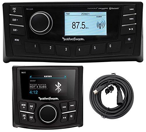 """Rockford Fosgate PMX-5CAN 2.7"""" Marine Receiver w/ Bluetooth/SiriusXM+Remote"""