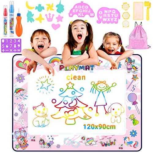 Nabance WaterDoodle Matte 120 x 90 cm Aqua Magic Doodle Malmatte Super Grande XXL Aqua Drawing Matte con 3 lápices de agua, 9 sellos Set Bolsa de almacenamiento regalos para niños niñas jóvenes