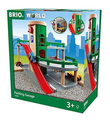 BRIO World 33204 Parkhaus, Straßen & Schienen – Eisenbahnzubehör für die BRIO Holzeisenbahn – Empfohlen für Kinder ab 3 Jahren