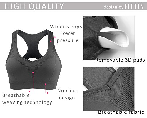 FITTIN Racerback Sports Bras - Padded Seamless High Impact Support for Yoga Gym Workout Fitness