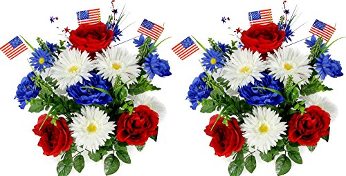 Admired By Nature 18 Stems Artificial Blooming Peony, Gerbera Daisy with Small American Flags, Fillers Mixed Flowers Bush for Memorial Day, Red/Blue/White, 2 Pieces