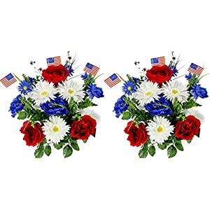 Silk Flower Arrangements Admired By Nature 18 Stems Artificial Blooming Peony, Gerbera Daisy with Small American Flags, Fillers Mixed Flowers Bush for Memorial Day, Red/Blue/White, 2 Pieces