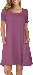 فساتين KORSIS صيفي كاجوال للنساء بأكمام قصيرة تتأرجح اللباس جيوب