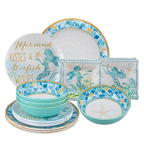 Gourmet Art 16-Piece Mermaid Heavyweight and Durable Melamine Dinnerware Set, Service for 4. Includes Dinner Plates, Salad Plates, Dessert Plates and Bowls. for Indoors Outdoors Use and Everyday Use.