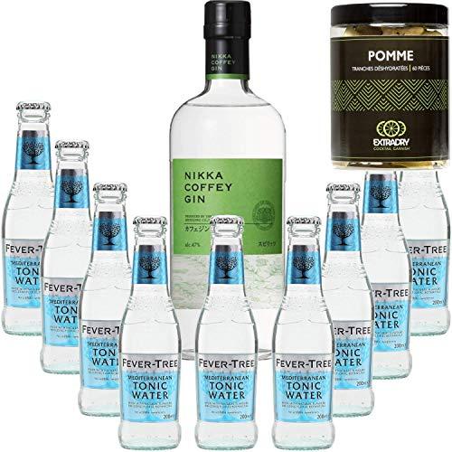 Paquete Gintonic - Nikka Gin + 9 del árbol de fiebre mediterránea Agua - (70cl 20cl + 9 *) + 60 rodajas de manzana deshidratada de Pot