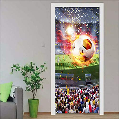 ZPCR Wallpaper HD Huge Football Field 3D Mural Living Room Study Room 3D Door Sticker PVC Self Adhesive Waterproof Wall Sticker