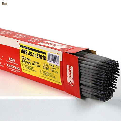BricoLoco Electrodos soldadura básicos para soldar hierro y acero. 2,5x350 mm. Paquete 120 uds. 2,5 kgs. Buena estabilidad del arco. Revestidos. Soldaduras de gran resistencia. E7018. (5)