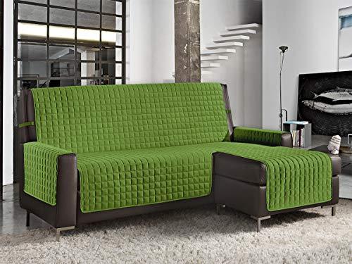 Banzaii Funda deSofá Cubre Chaise Longue Acolchada Lisa y Antimanchas Verde 3 Plazas Chaise Izquerdo