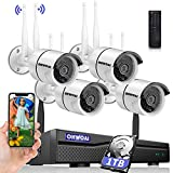 【8CH Expandable·Audio】 Security Camera System Wireless Outdoor, 8 Channel 1080P NVR with 1TB Hard Drive, 4Pcs 1080P CCTV Cameras for Home,OHWOAI Surveillance Video Security System,Outdoor IP Cameras