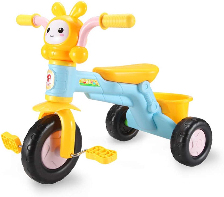 ZXYWW Kinderpedal Dreirad, Kinder Cartoon Dreirad, Fahrrad Multifunktions Musik Kinderwagen Spielzeug Für 36 Jahre Alt Kinder,Yellow