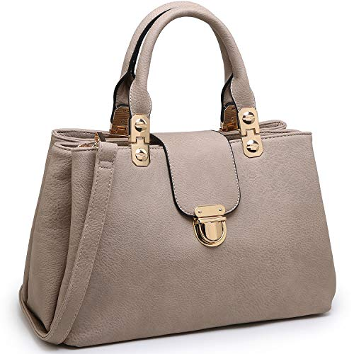 MATERIAL: Soft vegan leather with polished gold-tone hardware. No animal harms and environment friendly. Fully fabric lining. Rolled and stitched faux leather handles and detachable long shoulder strap. DESIGN: Three compartments with dual closures (...