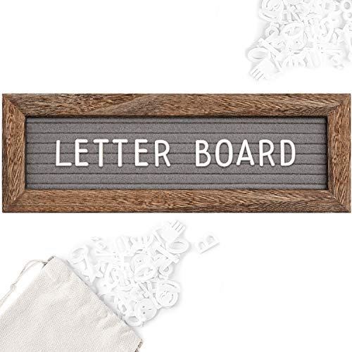 Gelibo Double Sided Letter Board with 350 Precut White Letters (Brown Rustic 10x3.5)