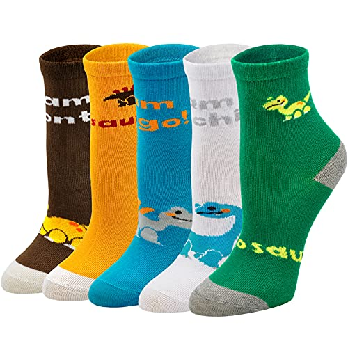 ZFSOCK Kindersocken Jungen Socken Dinosaurier Muster Baumwolle Bunte Lustige Sneaker Socken Knöchelsocken Niedliches Tiermuster 5 Paare, Größe 29-33, 8-10 Jahre alt