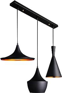 Industriel Lustre Vintage Suspension Luminaire Pendentif Lampe Aluminisé Salle À Manger Chambre Noir Rétro Fer Design Susp...