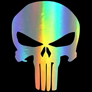 HungMieh Skull Stickers and Decals for Car Window Motrocycles, Large Punisher Skull Decals for Trucks, Laser Skull Bumper Sticker for Car Skull Graphics for Car Décor and Car Styling (5.94.4 inch)