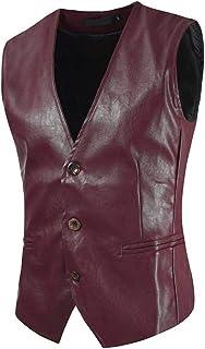 Men's Coat Traditional Leather Vest Tops Button Closure Pocket Slim Fit Solid Color Motorcycle Biker Vest Suit Waistcoat B...